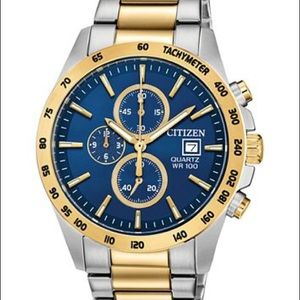 LIKE NEW Citizen Men's Watch (Gold Silver & Blue)